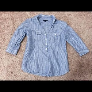 Gap 3/4 sleeve Oxford Striped Button Up Shirt S